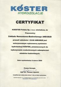 certyfikat hydroizolacje - iniekcja krystaliczna