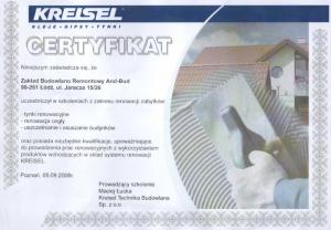 certyfikat - docieplenia budynków, renowacje